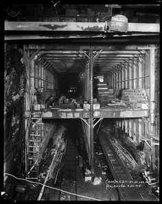 Subway tunnel construction at Lexington Avenue and 97th Street.