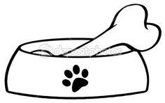 Hueso en un plato de tazón de fuente del perro rojo — Foto de stock © HitToon #9793832