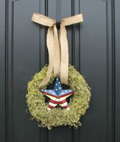 4th of July Decor  Moss Wreath  Patriotic Wreath  by twoinspireyou, $45.00