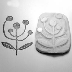 Hand carved abstract olives and leaves stamp. $15.00, via Etsy.