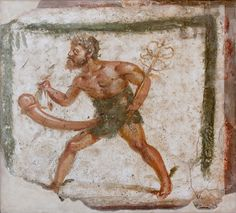 From front of the House of the Chaste Lovers (IX.12.6) in Pompeii, a shop sign probably for a bakery. Fresco of a crowned and bearded ithyphallic Mercury with caduceus and purse. Now in Naples Archaeological Museum.