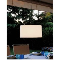 Harry Outdoor Pendant features a white polyethylene shade. One 23-watt, 120 volt medium base compact fluorescent bulb is required, but not included. Ballast is corporated. Dimensions: 19W x 10.2H. Overall height is 118 inches.</p>
