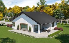 projekt Dom przy Pastelowej 20 Bungalow, House Plans, Shed, Outdoor Structures, Mansions, House Styles, Home Decor, Family Homes, Blueprints For Homes