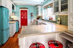 Aqua and red kitchen