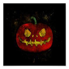 Evil Pumpkin Poster  $13.65  by BamalamArt  - cyo diy customize personalize unique