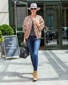 Who: Rosie Huntington-Whiteley When: 5/12/2015 Why: RHW is perfection personified. She is rocking an Isabel Marant jacket with casual Paige Denim jeans and a hat. Sure, it's covering up her perfect lob, but we think that's just fine. She wants us to look at the outfit.   - ELLE.com