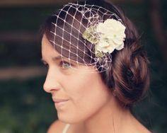 Flower hair clip, birdcage netting headpiece, Bridal hair clip, White flower veiling