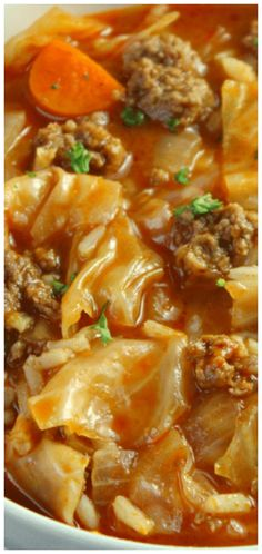 4 Points About Vintage And Standard Elizabethan Cooking Recipes! Cabbage Roll Soup A Delicious Dinner Recipe That Will Warm Your Belly On A Cold And Crisp Fall Day. Cabbage Soup Recipes, Beef Recipes, Cooking Recipes, Healthy Recipes, Crockpot Cabbage Roll Soup, Unstuffed Cabbage Roll Soup, Feta, Zucchini, Crock Pot Soup