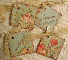 Tags with vintage floral paper, buttons, and twine