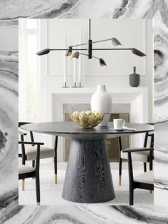 Worlds Away ( Round Wooden Dining Table, Modern Dining Table, Dining Room Table, Elegant Dining, Black Dinning Table, Black Round Table, Dining Decor, Best Dining, Round Top
