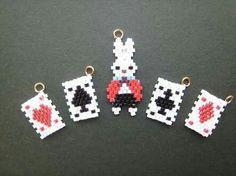 Brick stitch cards beaded rabbit beaded Alice in wonderland