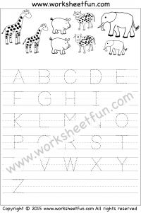 Letter Tracing Worksheet – Capital Letters – Animal Theme