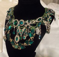 Green+Rhinestone+Necklace+Statement+Emerald+by+HopscotchCouture,+$1,127.00