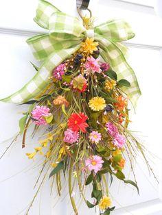 Easter wreath - upside down door wall hanger.