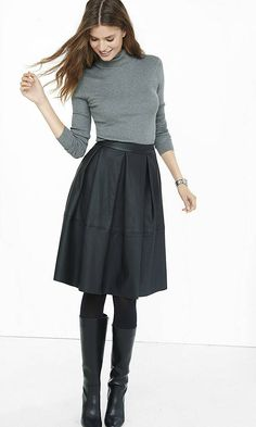Black (minus The) Leather Full Midi Skirt | Express