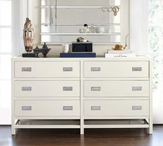 Lonny Wide Dresser   Pottery Barn - click on other images - it's Sky White but this photo looks a tad yellow (inaccurate) - $999