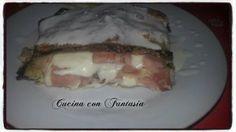 tortino di melanzane con prosciutto cotto e crema al gorgonzola