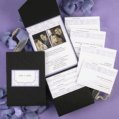 Sweeping Flowers & Photos  A bright white invitation is layered on top of a lavender backer. A fun floral design is featured surrounding two photos of your choice at the top with your wording printed below. The black pocket is perfect for adding your matching enclosures.