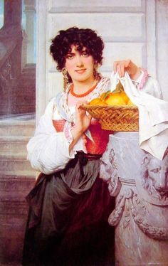 Pisan Girl With Basket Of Oranges And Lemons - Pierre Auguste Cot  1871