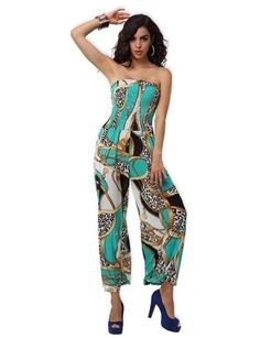 Amour- Fashion Casual Paisley Print Retro Boho Strapless Playsuit Jumpsuit Romper (Black): Clothing