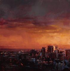 """Pink Sky at Night' 12x12"" oil on panel, 2015 - Lindsey Kustusch"