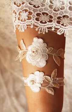 Wedding Garter Bridal Garter Lace Garter Gold Ivory Garter