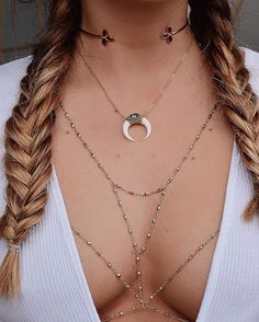 Gang's all here - double horn necklace and body chain by Lili Claspe, based in California
