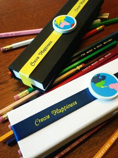 Pencil Gift Set 18 Pencils with Metal Sharpener, Globe Eraser - Boxed with Create Happiness ribbon, such a fun gift!