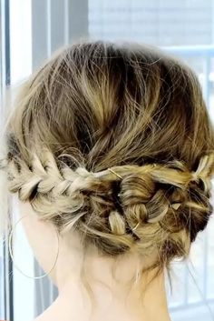 Hair How-To: Messy Braided Updo for Short Hair ★ See more: http://lovehairstyles.com/messy-braided-updo-short-hair-tutorial/