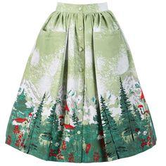 Adalene Green Alpine Print Skirt | Vintage Style Skirts - Lindy Bop
