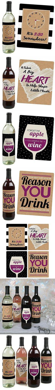 Teacher Appreciation - Teacher Christmas Gift - Wine Bottle Labels - Set of 4
