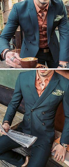 Two Pieces Korean Style Slim Elastic Blazers for Men