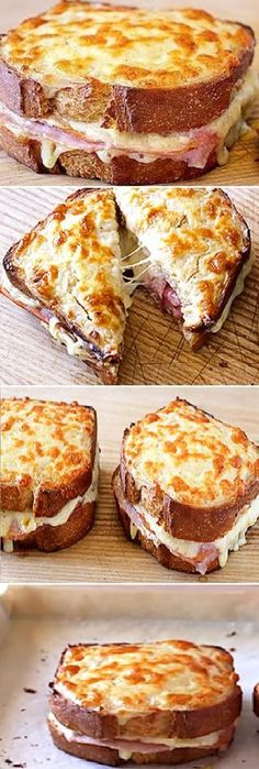 "Croque monsieur sandwich (quick and easy recipe) ""By Recipe .- Croque monsieur sandwich (quick and easy recipe) ""By Esbieta Recipes Sandwiches, Sandwich Bar, Roast Beef Sandwich, Sandwich Croque Monsieur, Croque Mr, I Love Food, Good Food, Yummy Food, Tasty"