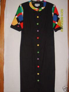 Sz 8 Ann Kirk Shirt Dress Black Red Green Blue Short Sleeve Button Front Career