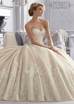 Bridal Gown From Mori Lee By Madeline Gardner Dress Style 2674 Alencon Lace on a Tulle Wedding Gown with Wide Border Hemline