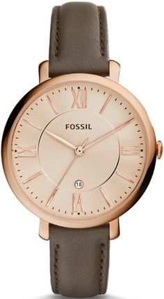 Latest FOSSIL Jacqueline Grey Leather Watch / Analogue Women's Quartz Wrist Watch with Date Function in Gift Box – Rose Gold Stainless Steel Case and Dial Fossil Jacqueline Watch, Fossil Watches, Wrist Watches, Bracelet Cuir, Stainless Steel Watch, Grey Leather, Fashion Watches, Women's Fashion, Jewelry Accessories