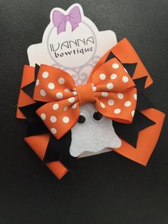 Halloween Bow MEDIUM Fall Hair Bow Thanksgiving Bow Ready to Ship Orange Hair Bow Layered Bow Tie