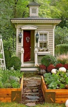 victorian outhouse, as a small garden shed/cabin retreat Cupola Little Garden Shed - imagine the hours u could lose in here w a good book!Cupola Little Garden Shed - imagine the hours u could lose in here w a good book! Garden Cottage, Home And Garden, Cottage House, Garden Art, Garden Design, Inside Garden, Vegetable Garden, Landscape Design, Shed Cabin
