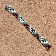 Pink and Turquoise Aztec Bead Loom Bracelet by PuebloAndCo on Etsy