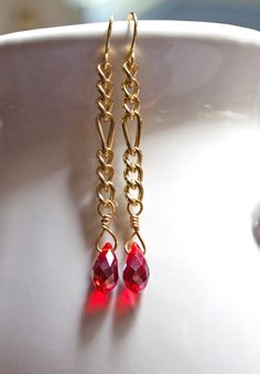 Red crystal drop earrings Long earrings Earrings for women Minimalist Casual attire Simple earrings Beaded earring by Lindy Lee Treasures