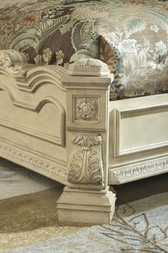 Elaborately detailed ornamentation is impressive on the Ortanique King Sleigh bed