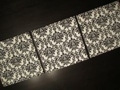 DAMASK Fabric Canvas Wall Art Hanging 12x12 each -Set of 3. $44.99, via Etsy.