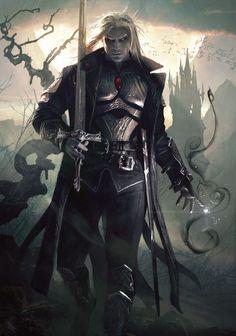 Sorin the Vampire from Magic the Gathering Fantasy Male, High Fantasy, Fantasy Warrior, Dark Fantasy Art, Fantasy Rpg, Fantasy Artwork, Fantasy World, Elf Warrior, Dark Warrior