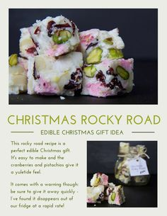 Christmas Rocky Road This simple recipe is a perfect edible Christmas gift. The white chocolate, pistachios and cranberries give this rocky road a yuletide feel. Just be sure to give it away quickly (Rocky Road Chocolate Bark) Edible Christmas Gifts, Xmas Food, Edible Gifts, Christmas Cooking, Christmas Treats, Simple Christmas, Christmas Foods, Christmas Cakes, Christmas Desserts