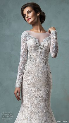 amelia sposa 2016 wedding dresses sheer bateau neckline long sleeves embroidered beautiful champagne trumpet mermaid wedding dress tiffany closeup
