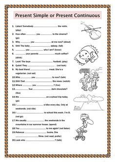 Present Simple or Present Continuous worksheet - Free ESL printable worksheets made by teachers Present Continuous Worksheet, Present Continuous Tense, Simple Present Tense, English Worksheets Pdf, English Activities, Printable Worksheets, English Grammar Tenses, English Vocabulary, Teaching English