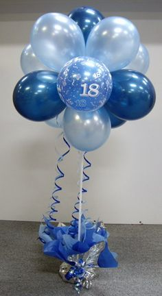 Definitely A Favourite Combination Of Blue Balloons For Topiary 60th Birthday Decorations75th