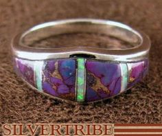 Magenta Turquoise and Opal Inlay Silver Ring