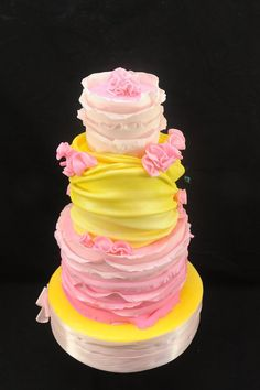 Pink Ombre Ruffles and Lemon Yellow Swags Cake