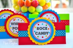 Tent Cards in Primary Colors by thepaperkingdom on Etsy, $14.00